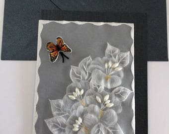 Butterfly and flowers handmade card