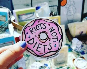 Riots not diets donut sticker