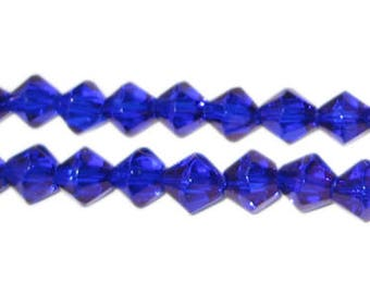 8mm Navy Bi-cone Fire Polish Glass Bead