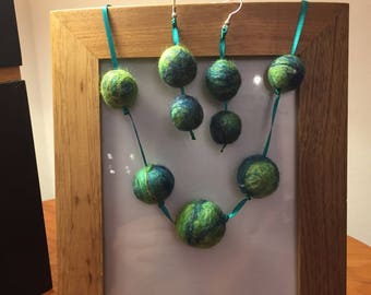 Turquoise felted necklace and earrings
