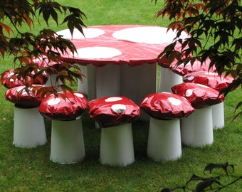 Toadstool table cloth, Alice in Wonderland party