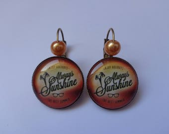 "Earrings cabochon 20mm ""Holiday"" theme."