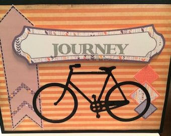 Bicycle theme card, bike enthusiast, adventurer, 3 D, die cut elements, masculine colors, card for him, birthday, encouragement, travel,
