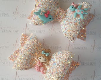 Glitter handmade hair bow.
