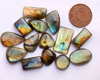 14Pcs 236Cts. 28X16mm 100% Natural Labradorite Multi Fire Pear Oval Jewelry Wire Wrapped Pendant Making Smooth Hand Polish Gemstone SKU132
