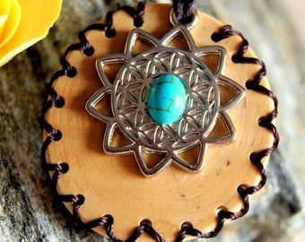 Birch wood and flower of life pendant