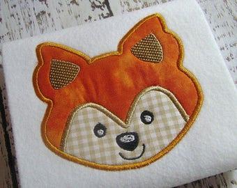 applique fox machine embroidery instant download design, baby fox, farm animal, baby nursery, baby fox face