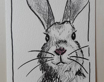 Hand drawn Greeting card bunny as download