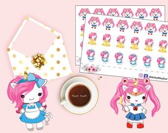 Cute Unicorn Princess Stickers, Unicorn Cosplay Planner Sticker, Princess Sticker, Cosplay Stickers, Scrapbook Sticker, Planner Accessory