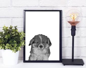 nursery art dog, nursery decor dog, Nursery animal wall decal, Alphabet wall art for nursery, Instant download printable art nursery