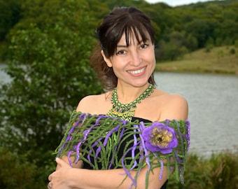 Women green felted scarf felt wrap Inspirational scarf merino wool scarf felt flower gift purple flower designer felt flower perfect gift