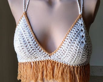 White cotton crochet top with fringe