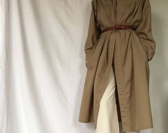 Khaki cotton smock midi length coat