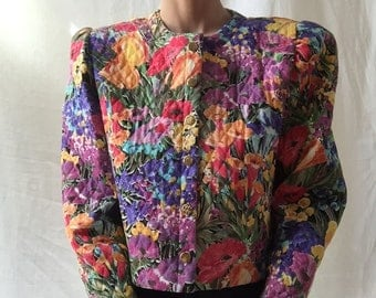 80s floral quilted cropped jacket