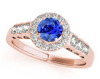 1.40 Ct. Halo Tanzanite And Diamond Engagement  Ring In 14k Gold