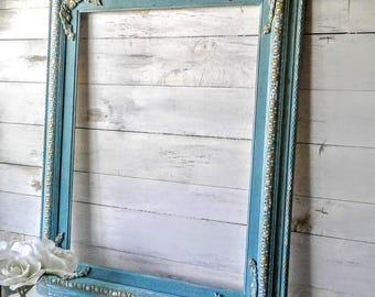 Sale!-'Large Empty Painted Frame , French Country.  Baroque , Cascade Blue, Wedding Prop, Wedding Gift, Portrait Frame, Painting Art Frame