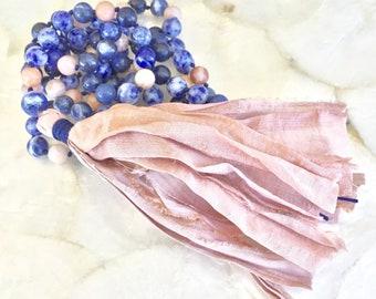 Blue Sodalite Mala, Sunstone Mala, 108 bead Mala, Mala Necklace, Mala with Tassel, Gemstone Mala, Knotted Mala, Tassel Necklace, yoga Mala