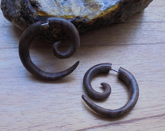 Fake Gauge Earrings, Spiral Fake Earrings, Wood Fake Earrings, Wooden Accessories, Bali Jewelry, Sono 04