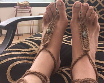 Barefoot Sandals, FREE SHIPPING, Hippie Shoes, Crochet Barefoot Sandals