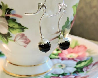 Silver Onyx Earrings