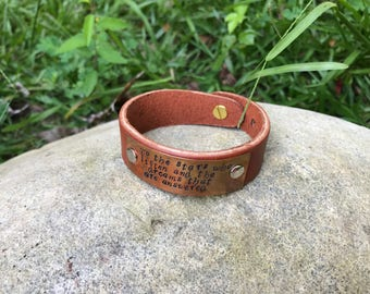 To the Stars Who Listen and the Dreams that are Answered Leather & Copper Cuff