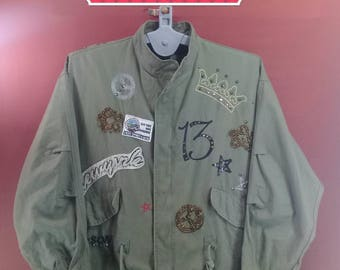 Vintage Camo Jacket Hipster Z.R.X Jacket Women Zip up Style Green Colour  Hipster Camo Jacket US Air Force US Army Shirt