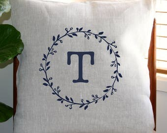 Personalised Monogram Cushion Cover with Gumnut Wreath [Oatmeal]