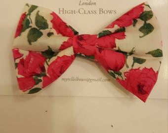 Stunning,hair bows, children's, adult's,  fashion, clips, hair, flower, pink, Liberty of London, green, floral, kids hair bows, nice,