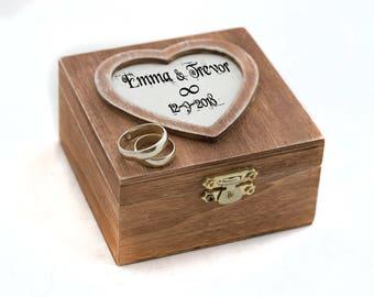 Wedding ring box, Ring Bearer box Rustic Wedding Box Heart Shaped Personalized wedding box Ring Bearer Pillow Custom ring box Engagement box