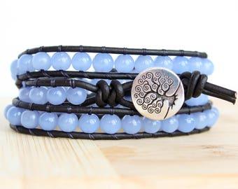 Light Blue Glass Beaded Leather Wrap Bracelet, Triple Wrap Bracelet, Wrap Bracelet Leather, Beaded Wrap Bracelet, Boho Leather Bracelet Bead