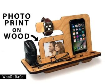 iPhone Stand, Mobile phone & tablet Docking Station, Charging Station, Bedside Tidy Desk Tidy, Smart Phone Samsung, Wooden Gift for Him