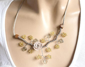 Taupe floral Pearl branch necklace