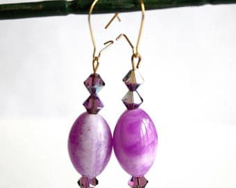 Oval earrings purple Crystal bicones and fancy
