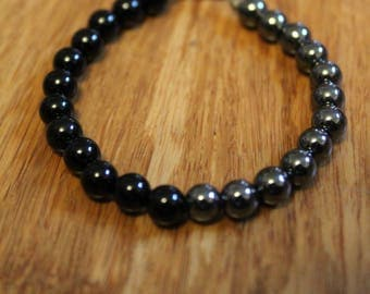 Hematite and Obsidian beads on wire. Adult Medium