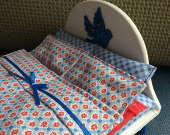 """OOAK Handcrafted Double Bed with Linens for Pippa/Dawn 6"""" Doll (made to order)"""