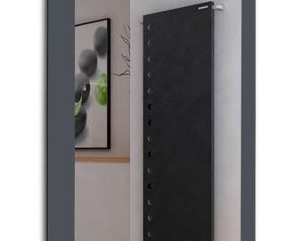 Graphite Gray Striped Wall Mirror