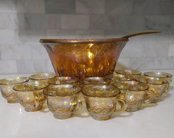 Iridescent Gold Carnival Glass Punch Bowl with 12 cups and ladle