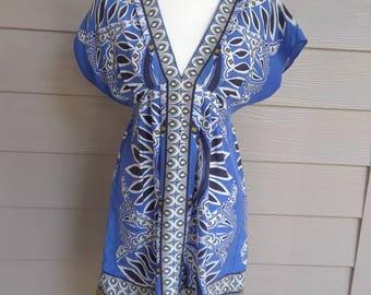 Blue Batik Print Silk Dress