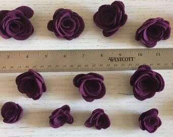 15 Purple Felt Roses