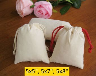 30 5x5 Custom Jewelry Pouches 5x7, 5x8 Wedding Favor Bags Drawstring Cotton Bags Calico Bags