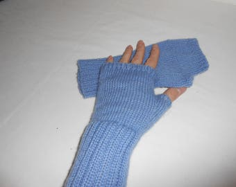 mitts, mitts blue, knitted