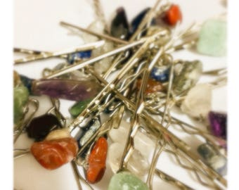 Handmade Silver Crystal Hair Pins
