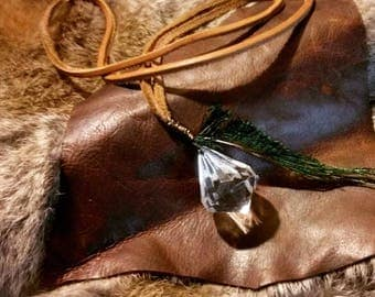 Gem Drop Leather Necklace w/ Green Feather