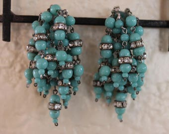 Vintage Faux Turquoise Faux Crystal Tiered Drop Clip On Earrings Clipons