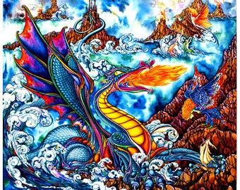 Myths of the Sea Archival Quality Print, Fantasy, Mythology, Sea Dragon, Watercolour Illustration