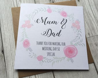 Beautiful floral wreath Thank you Mum and Dad Wedding card parents ,step parents, grandparents, special day