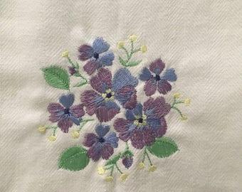Purple Pansies Tea Towel