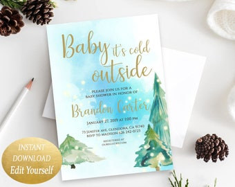 Editable Baby Its Cold Outside Baby Shower Invitation for a Baby Boy Christmas Baby Shower Invitations Christmas Holiday Invite Baby Winter