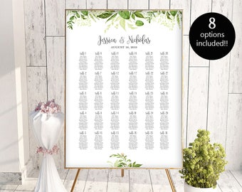 8 Options Wedding Seating Chart Template Alphabetical Seating Chart Printable Seating Board Editable Seating Chart Poster Template Seating