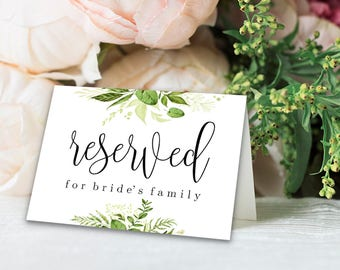 Reserved Printable Reserved Wedding Sign Reserved Table Sign Wedding Printable Wedding Template Instant Download Editable PDF Greenery DIY